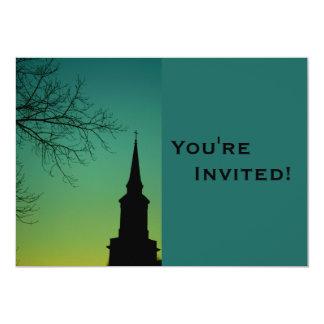 Baptismo personalizado do Steeple da igreja Convite 12.7 X 17.78cm