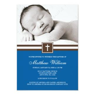 Baptismo transversal azul escuro e de Brown do Convites Personalizado