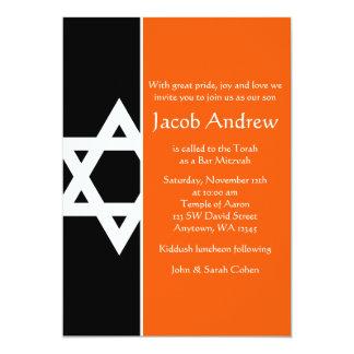 Bar alaranjado e preto Mitzvah da estrela de David Convite 12.7 X 17.78cm