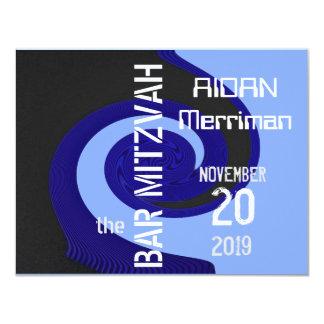 Bar azul Mitzvah da onda Convite 10.79 X 13.97cm