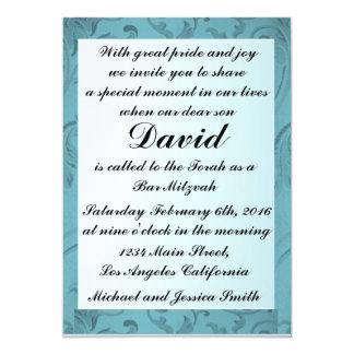 Bar azul Mitzvah do quadro das flores/convite do Convite 12.7 X 17.78cm