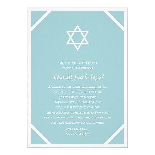 Bar azul simples Mitzvah Convite