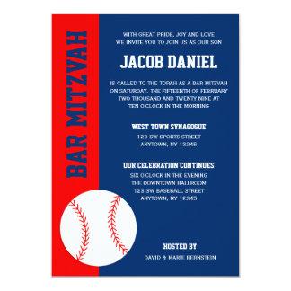Bar azul vermelho Mitzvah do basebol Convite 12.7 X 17.78cm