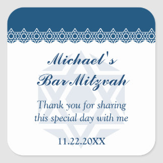 Bar-Bastão azul Scalloped Mitzvah da estrela de Adesivo Quadrado