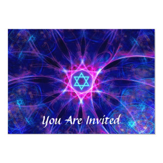 Bar da aposta de Magen/bastão Mitzvah Convite 12.7 X 17.78cm