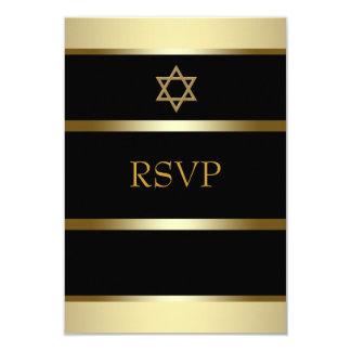 Bar de ouro preto Mitzvah RSVP Convite 8.89 X 12.7cm