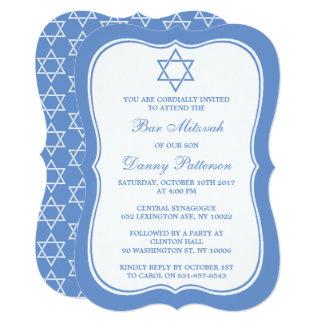 Bar judaico azul & branco chique Mitzvah da Convite 12.7 X 17.78cm