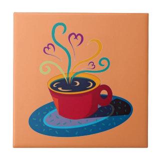 Bar Klatch do chá do amor do copo de café de Azulejo Quadrado Pequeno