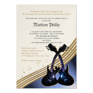 Bar Mitzvah da música da guitarra Convite 12.7 X 17.78cm