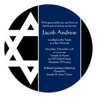 Bar redondo Mitzvah da estrela de David do preto Convite Quadrado 13.35 X 13.35cm
