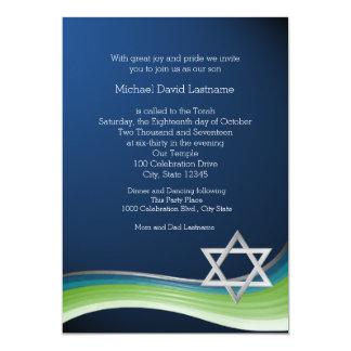 Bar verde e azul Mitzvah da estrela de David do Convite 12.7 X 17.78cm