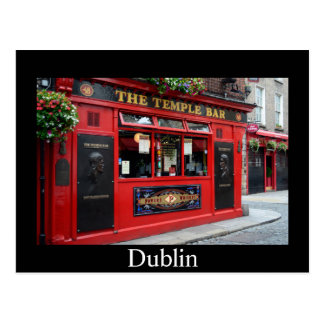 Bar vermelho do bar do templo no cartão de Dublin