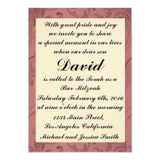 Bar vermelho Mitzvah do quadro das flores/convite Convite 12.7 X 17.78cm