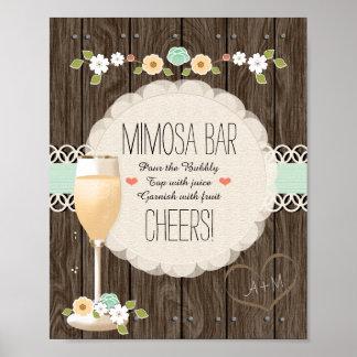 Bar Wedding rústico do Mimosa do chá de panela de Poster