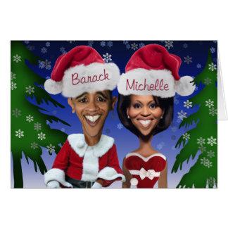 Barack e feriado da caricatura de Michelle Obama Cartão Comemorativo