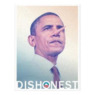 Barack Hussein Obama Pinocchio desonesto Cartão Postal