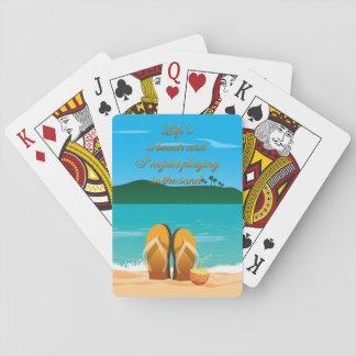Baralho A vida é um cartão de jogo da praia