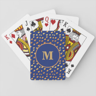 Baralho Azuis marinhos do monograma e cartão de jogo dos