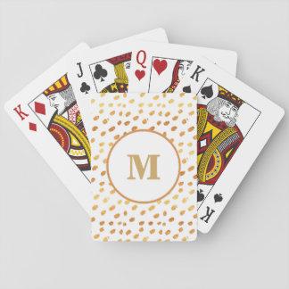 Baralho Branco do monograma e cartão de jogo dos confetes