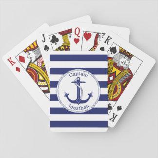Baralho Capitão náutico Personalized dos azuis marinhos da