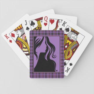 Baralho Cartão de jogo roxo da mulher da xadrez da