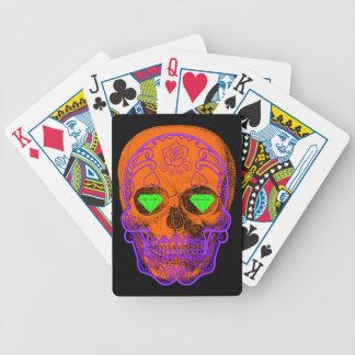 Baralho Cartões de jogo alaranjados do crânio do açúcar