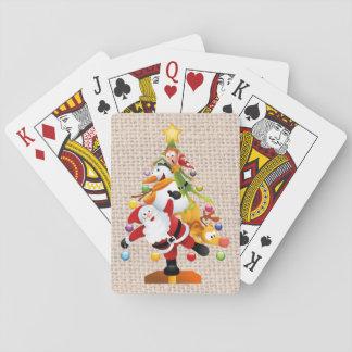 Baralho Cartões de jogo alegres do Natal, caras padrão
