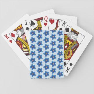 Baralho Cartões de jogo azuis do teste padrão de flores