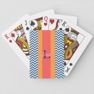 Baralho Cartões de jogo azuis formais de Chevron do