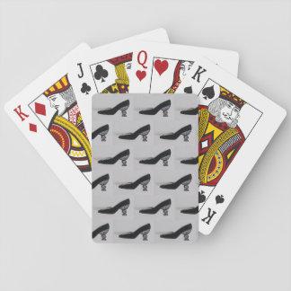Baralho Cartões de jogo, calçados do vintage, preto, salto