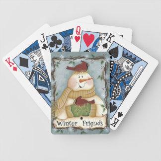 Baralho Cartões de jogo cardinais do boneco de neve dos