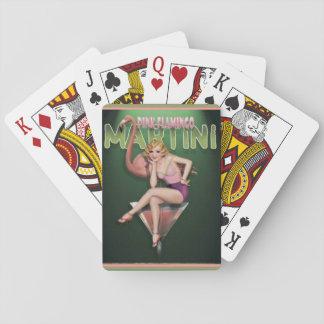 Baralho Cartões de jogo cor-de-rosa de Martini do flamingo