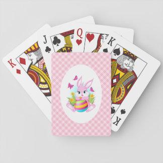 Baralho Cartões de jogo cor-de-rosa do coelhinho da Páscoa