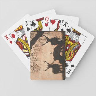 Baralho Cartões de jogo da silhueta da noite do veado