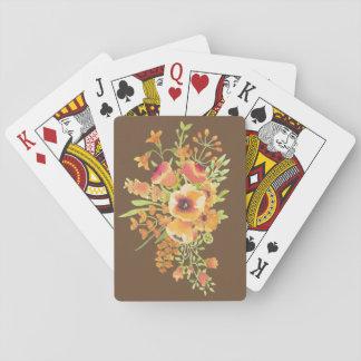 Baralho cartões de jogo das flores, caras padrão do índice