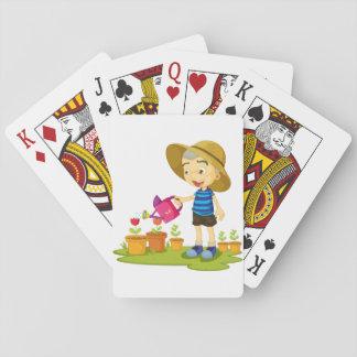 Baralho Cartões de jogo das plantas molhando da criança