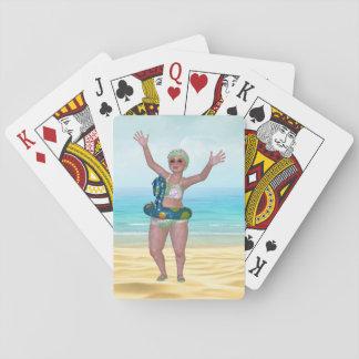 Baralho Cartões de jogo de banho engraçados da praia da