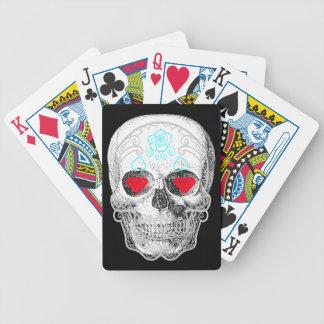Baralho Cartões de jogo do crânio do açúcar branco