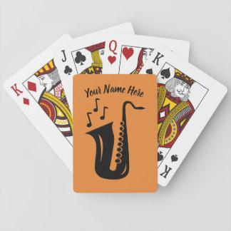 Baralho Cartões de jogo do saxofone com nome feito sob