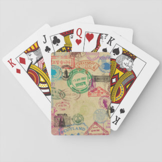 Baralho Cartões de jogo dos selos do passaporte do vintage