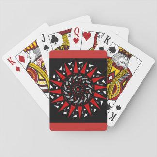 Baralho Cartões de jogo espirais cravados vermelhos pretos