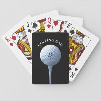 Baralho Cartões de jogo Golfing do pai do monograma do T