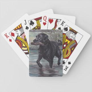 Baralho Cartões de jogo pretos da arte do cão de labrador