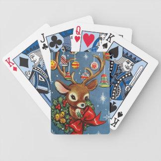 Baralho Cartões de jogo retros da rena do Natal do vintage