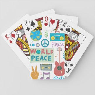 Baralho Cartões de jogo retros dos ícones da paz de mundo