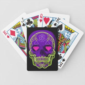 Baralho Cartões de jogo roxos do crânio do açúcar