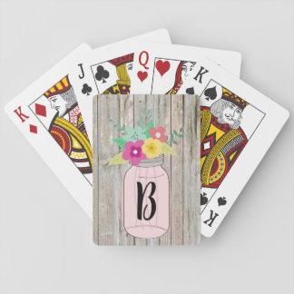 Baralho Cartões de jogo rústicos Monogrammed com frasco de
