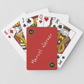 Baralho cartões de jogo vermelhos legal com nome
