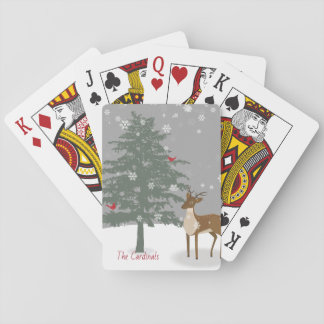 Baralho Cartões nevado da cena/de jogo/cervos & cardeal