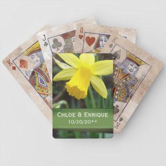 Baralho Casamento personalizado do foco Daffodil macio